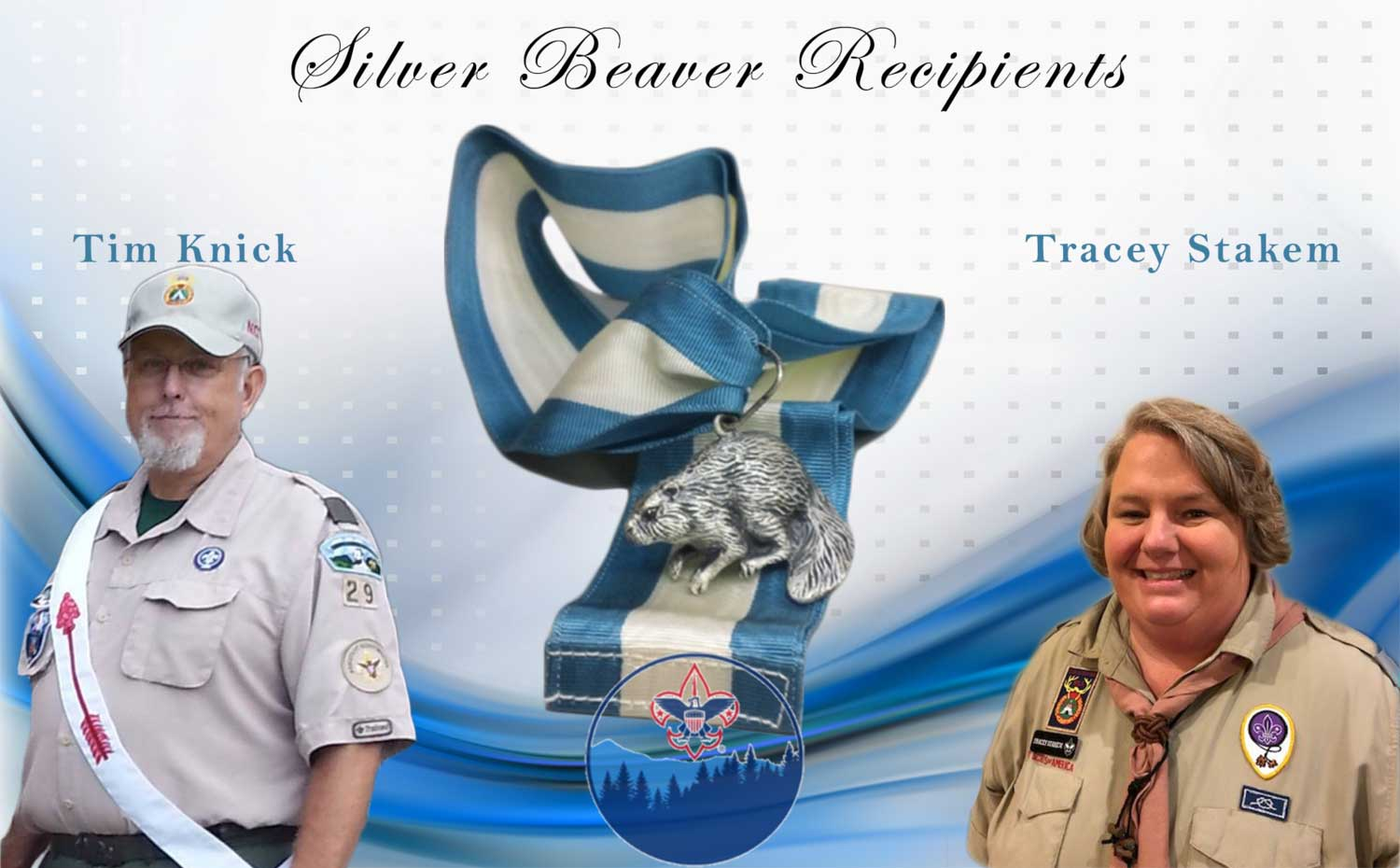 Silver Beaver Recipients Tim Knick and Tracey Stakem